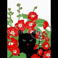 cat-in-hollyhocks